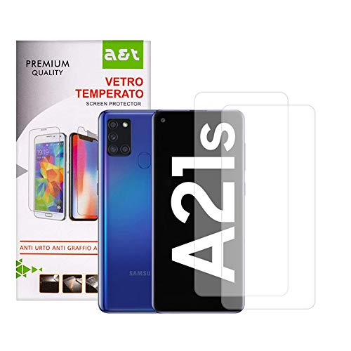 A&T Tempered Glass for Samsung Galaxy A21s Anti-scratch Screen Protector Bubble-free Easy to open 2 pieces + 1 Transparent Anti-Skid Soft Washable Cover that Protects from Drops