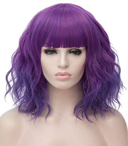 Ruina Short Purple Wigs for Women, 14
