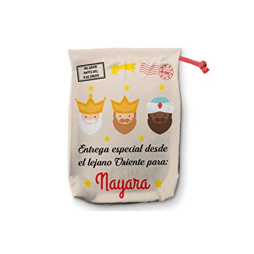 NANNUK Saco Reyes Magos Personalizado para Regalos Navidad (50 x 70 cm)