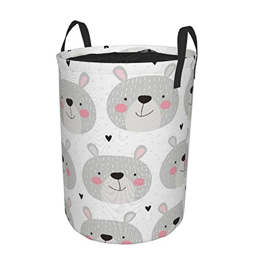 Minalo Large Storage BasketsSeamless Teddy Bear PatternDrawstring Waterproof Round Collapsible Laundry Hamper for Dirty Clothes Toy Home Office 216X165