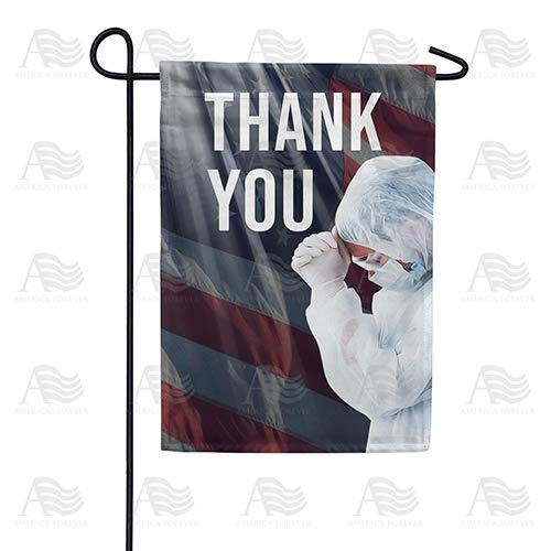 America Forever Flags Double Sided Garden Flag - America Says Thank you - 12.5' x 18', Thank You Healthcare Workers, Fight Against Covid-19 Coronavirus Pandemic Flag, Yard Outdoor
