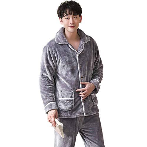 Funlife-Shop Herren Flannel Pajamas Sets Herbst und Winter Warm Thicken Pyjama lang bedruckt Sleepwear Men Lounges Pijama Homewear Gr. 3XL (184/190 cm), Pj301color16