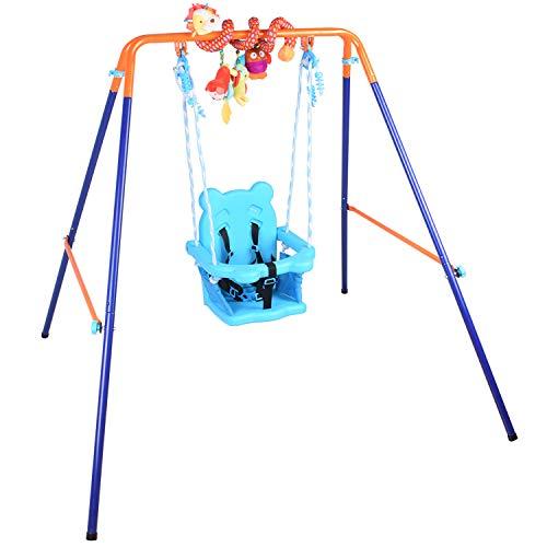 Alpika - Columpio plegable para interiores y exteriores, portátil, con respaldo de asiento para bebé+juguetes para colgar en espiral para bebé/niños