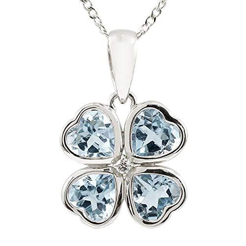 [アトラス] Atrus ネックレス レディース pt900 プラチナ900 アクアマリン ダイヤモンド クローバー ペンダント トップ チェーン(シルバー925) 3月誕生石