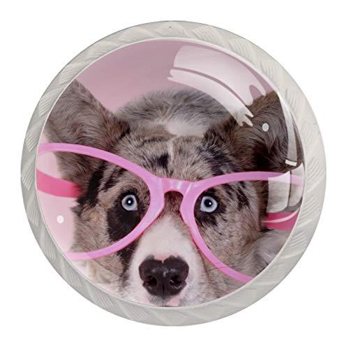 Welsh Corgi Dog Pink | Perilla de gabinete de alta calidad tiradores de gabinete Hardware de gabinete de 4 unidades para oficina y hogar, cocina, baño, aparador y armario