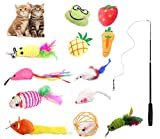 INNAPER 13 PCS Interactive Replacement Cat Feather Toys Teaser,Retractable Cat Wand Toy...