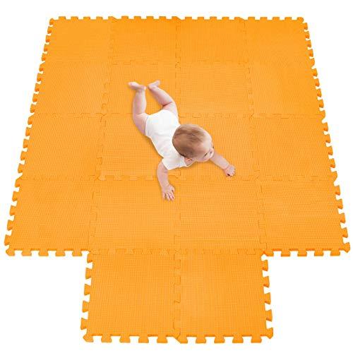 meiqicool Alfombra Puzzle Infantiles Suelo de Espuma EVA | Tapete de Juego | Alfombra Suave para Bebé | Alfombra Goma eva Bebe Manta Juegos Naranja 02