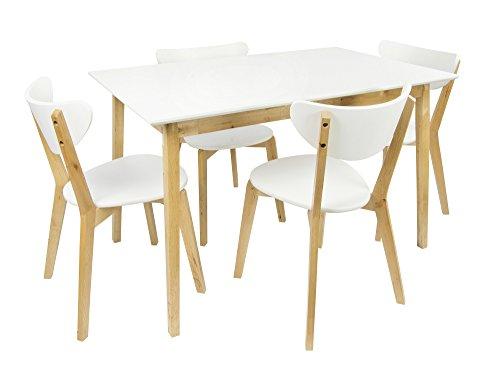 Mesa de madera blanca y 4 sillas