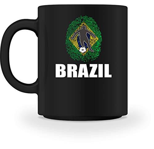Taza genérica de alta calidad – Camiseta de la Copa del Mundo de Brasil de Rusia 2018 para fans de Brasil, fútbol, huellas dactilares, diseño nacional Negro M