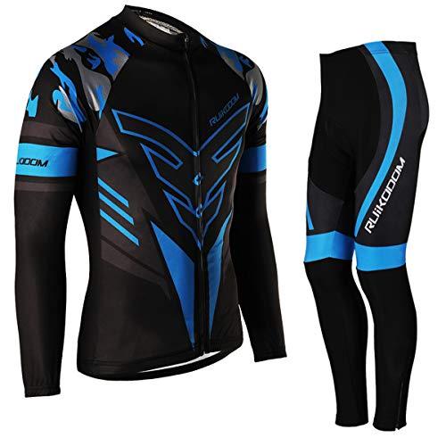 RUIKODOM Completo da Ciclismo per Uomo Maglia da Ciclismo con Pantaloncini Imbottiti in Gel/Pantaloni Set Manica Corta Manica Lunga Disponibile