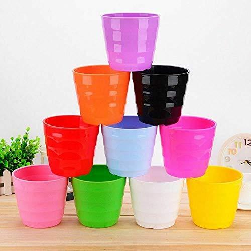 Zgze Flower Pots Colorful Mini Plastic Flower Pot Garden Succulent Plant Flowerpot Home Office Decor Horizontal Plastic Flower Pot With Trays 10PCS