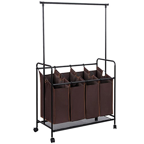 SONGMICS 4-bag Rolling Laundry Sorter with Hanging Bar Heavy-duty with Wheels & Larger Bags Brown URLS44S