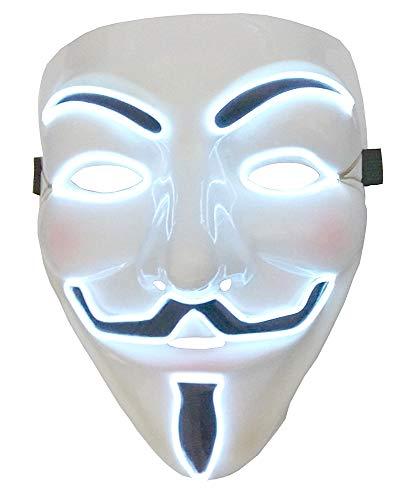 KIRALOVE Maschera v per Vendetta Anonymous - per Costume - Travestimenti Donna - Halloween - Carnevale - LED Luminoso - Bianco - Adulti - Unisex - Uomo - Ragazzi - Idea Regalo Originale