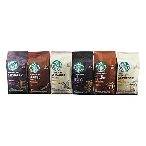 Starbucks Röstkaffee Komplett Set, Alle Sorten, 3 x Gemahlen + 3 x Ganze Bohnen, Kaffee, 6 x 200 g