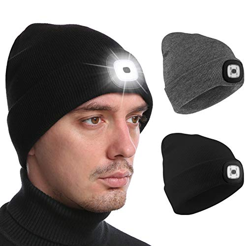 Deilin Upgraded LED Lighted Beanie Hat with USB Rechargeable for Men and Women, Adjustable Brightness Headlamp Winter Lighted Beanie Cap, Unisex Winter Warmer Knit Hat with Light