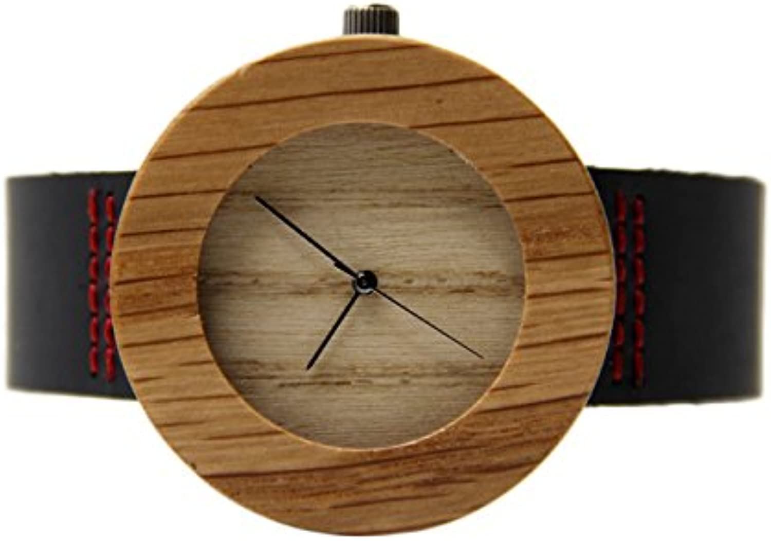 RedBrowm Leisure Leather Bamboo Wooden Watches