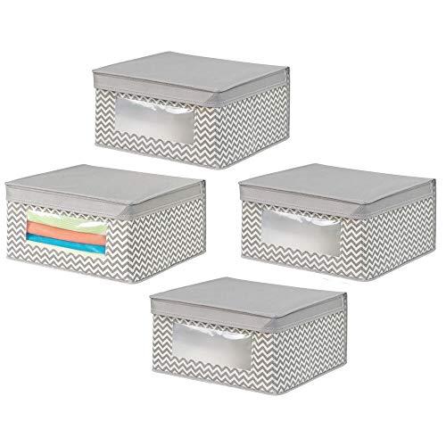 mDesign Set da 4 Contenitori con coperchio in tessuto – Contenitori portaoggetti per cassetti e per armadi – Organizer per armadi in polipropilene – talpa