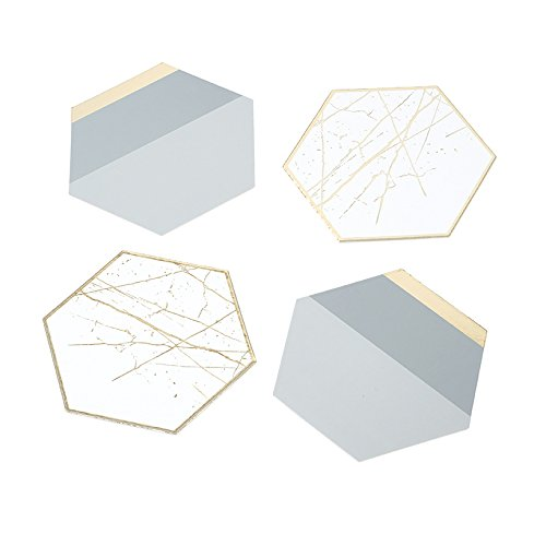 Talking Tables Modern Metallics Gold Foil Trim Hexagonal Card Table Coasters for a Birthday or Home Décor, Multicolor (12 Pack)