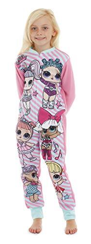 LOL Surprise Schlafanzug für Mädchen | Konfetti-Design | Fleece-Pyjama für Kinder | Einteiler mit niedlichen Puppen & Einhörnern | Ideen Nachtwäsche für Kinder (5-6 Jahre)