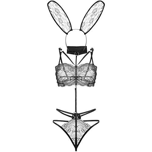 Yiyu Damen Kostüm Hase Anzug erotische Uniformen Nette Partei Cosplay Unterwäsche Anzug Schlafanzug Strumpfhose x (Color : Black)