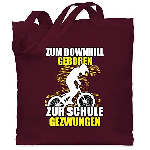 Shirtracer Radsport - Zum Downhill geboren zur Schule gezwungen - Unisize - Bordeauxrot - Zum Downhill geboren zur Schule gezwungen - WM101 - Stoffbeutel aus Baumwolle Jutebeutel lange Henkel