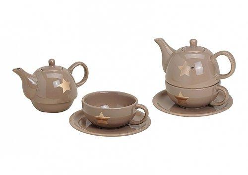 Teekannen-Set Stern Keramik 3 teilig