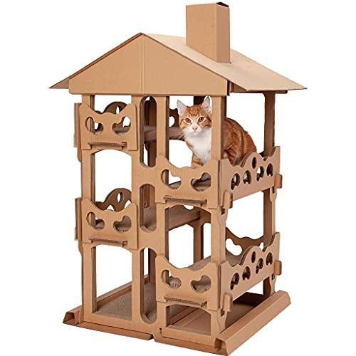 ZHAN YI SHOP Inicio Interior Corrugado Cat Scratcher Torre De Cartón, Zona De Juegos Hideout Pet House House Apartamento, para Gatos Y Gatitos, Muebles para Gatos para Mascotas, Marrón
