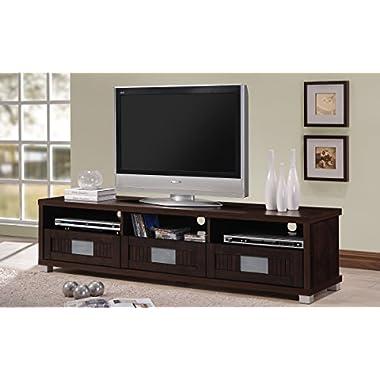 Wholesale Interiors Baxton Studio Gerhardine Wood TV Cabinet with 3-drawer, 63 , Dark Brown