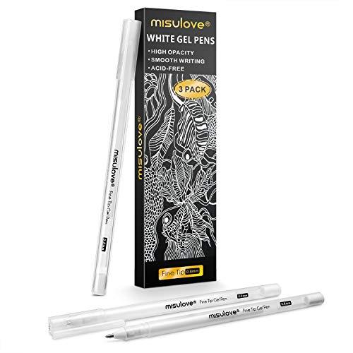 MISULOVE ホワイトゲルペン - 3本セット 細字 0.8mm 不透明ホワイト アーカイブインクペン アーティスト用 ブラックペーパードローイング スケッチ イラスト 大人用ぬり絵ブック