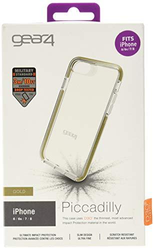 Gear4 Piccadilly Klarsichthülle mit verbessertem Stoßschutz [D3O-geschützt], schlankes, Robustes Designed for New iPhone SE (2020) and iPhone 6/6S/7/8 – Gold