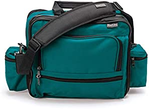 Hopkins Medical Products Mark V Shoulder Bag, HIPAA Compliant Lockable Zippers, Adjustable Straps, Reinforced Bottom, Fold-Down Compartment, 13 Inch x 11.25 Inch x 7.5 Inch, Teal
