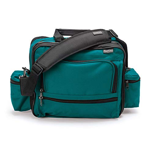 Hopkins Medical Products Mark V Shoulder Bag  HIPAA Compliant Lockable Zippers  Adjustable Straps  Reinforced Bottom  Fold-Down Compartment  13 Inch x 11.25 Inch x 7.5 Inch  Teal