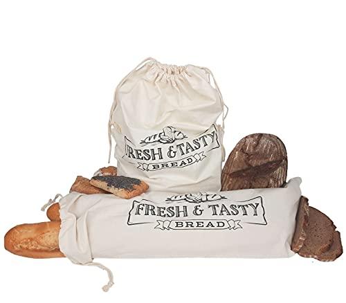 STAWOXX® Brotbeutel, 100% Baumwolle, 2er Set, Wiederverwendbare Beutel zur Aufbewahrung von Brot, Baguette, Brötchen - Brot plastikfrei aufbewahren - EIN schönes Geschenk für jeden Haushalt