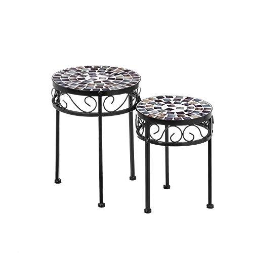 Mesitas auxiliares de cerámica con Mosaico Verde Modernas para terraza Arabia - LOLAhome