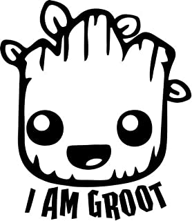 Mandy Graphics Cute Baby I Am Groot Vinyl Die Cut Decal Sticker for Car Truck Motorcycle Windows Bumper Wall Home Office Decor Size- [6 inch/15 cm] Tall and Color- Gloss White