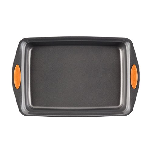 Rachael Ray Nonstick Bakeware with Grips Nonstick Baking Pan With Lid and Grips/ Nonstick Cake Pan With Lid and Grips, Rectangle - 9 Inch x 13 Inch, Gray