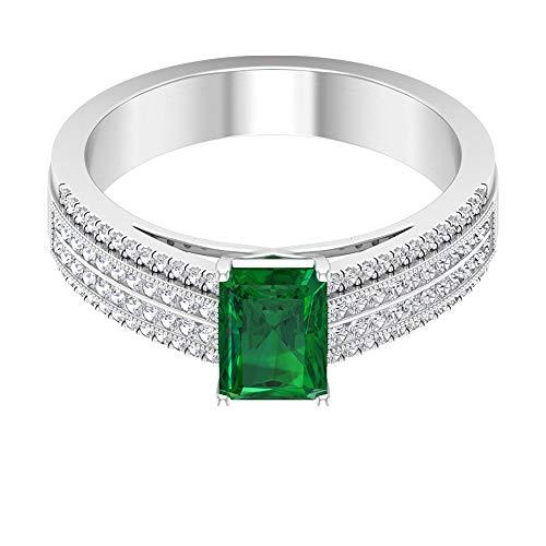 Anillo de compromiso con solitario de 0,9 ct, esmeralda creado en laboratorio, 0,46 ct SGL certificado, anillo de compromiso con diamantes, 14K Oro rosa, Size:EU 50