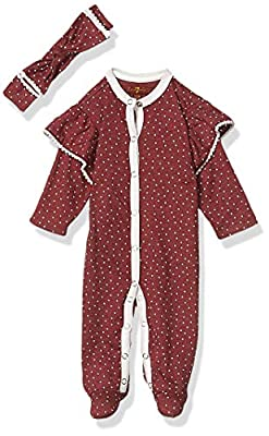 7 For All Mankind Baby Girls Footie, Ruby Red Dot, 3-6 Months