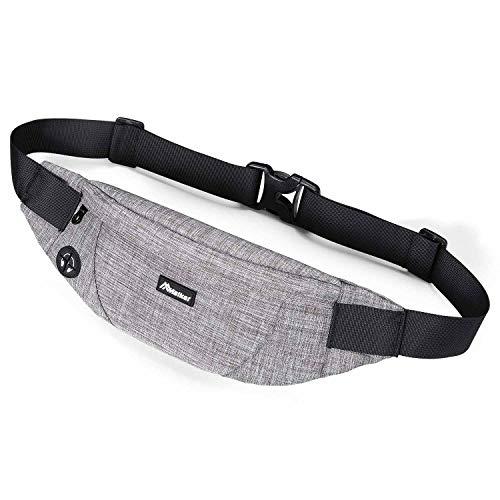 Malker Bauchtasche Gürteltasche mit Kopfhöreranlass Hüfttasche Multifunktionale Reise Sport Outdoor Aktivitäten für Damen und Herren (Grau)