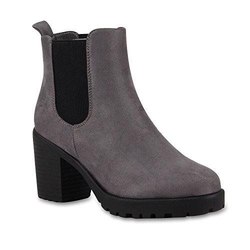 Stylische Damen Boots Stiefeletten Chelsea Boots Knöchelhohe Stiefel Zipper Leder-Optik Booties Schuhe 110406 Grau Schwarz 39 Flandell