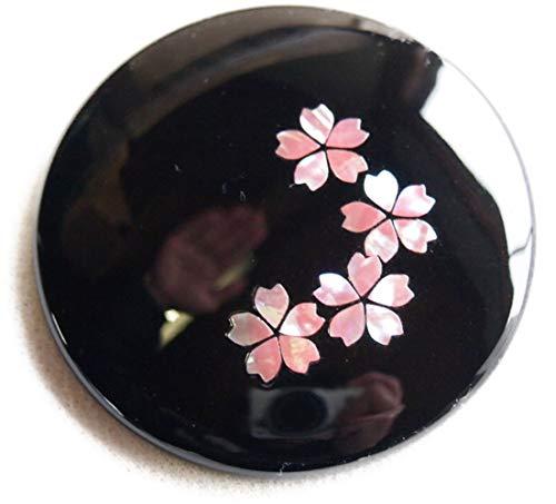 平安 手鏡 コンパクト 螺鈿装飾 伝統工芸 高岡漆器 日本製 (平安手鏡 さくら)