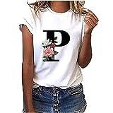 VEMOW Camiseta de Mujer Manga Corta Suelta con Cuello Redondo Talla Grande, Moda Impresión de 26 Letras Inglesas Basica Suelto Verano Camisa Tops Casual Fiesta T-Shirt para el Mejor Amigo(P,XL)