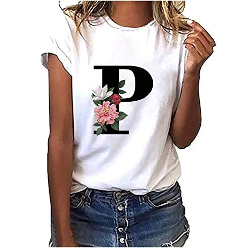 Sommer Kleidung MäDchen Rundhals Oberteile Giraffe mit Blumen Drucken T-Shirt Mode Blusen Schmetterling Druck Shirt Mädchen Top Damen Shirt The Letter P XL