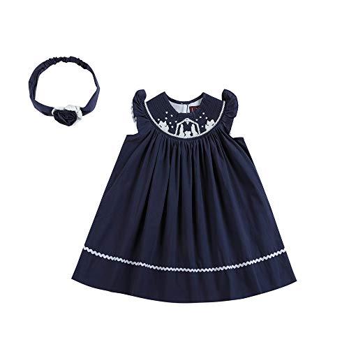 Lil Cactus Navy Blue Nativity Smocked Christmas Dress, Girl sz 2T