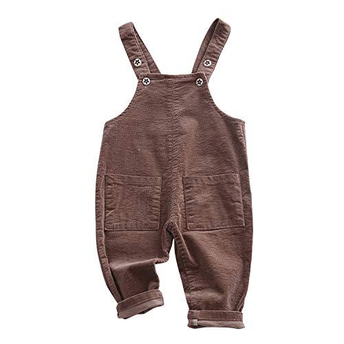 De feuilles Baby Cord Latzhosen Klein Kinder Overalls Hosen mit Taschen Knöpfe mit Sterne Unisex Romper