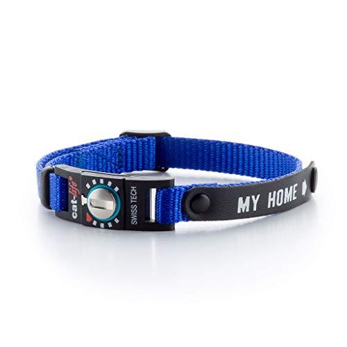 cat-life Halsband für Katzen Sicherheitshalsband Katzenhalsband mit Sicherheitsverschluss individuell einstellbar (My Home Blue, unter 4 kg Verschluss blau)