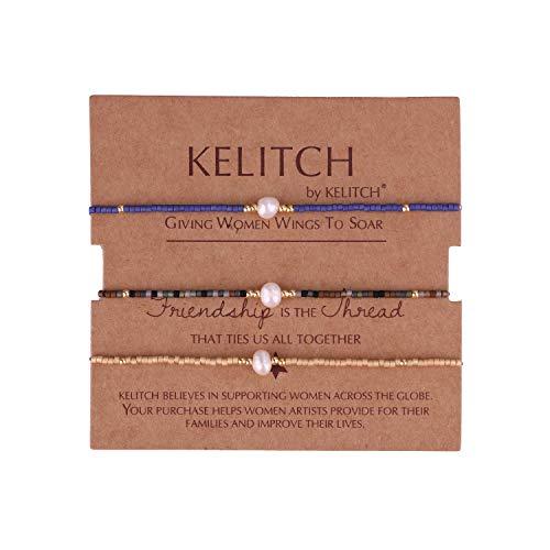 KELITCH 3 STK Mischen Perle Farbe Miyuki Perlen Charme Freundschaft Armbänder Handgefertigt Strecken Armband Einstellbar Armbänder Zum Damen Mädchen - Kombination S