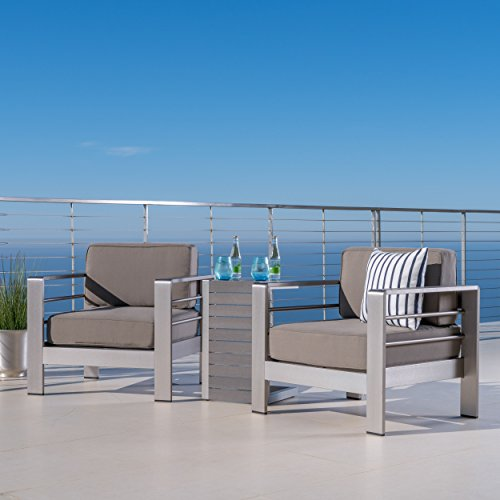 GDFStudio Crested Bay Patio Furniture ~ Outdoor Aluminum Patio Chairs with Side Table (Chat Set)(Khaki/Natural)