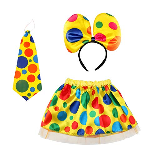 Amosfun 3pcs Costume da Clown di Halloween Set Gonna da Clown da Circo Cravatta Fascia Vestire Kit per Donne Ragazze Travestimento Oggetti di Scena