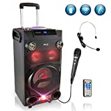 Pyle Outdoor Portable Wireless Bluetooth Karaoke PA Loud Speaker - 8'' Subwoofer Sound System with DJ Lights, Rechargeable Battery, FM Radio, USB/Micro SD Reader, Microphone, Remote, Black